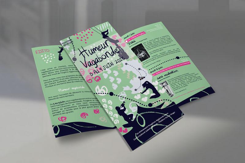 Dépliant 3 volets pour l'évènement de fin de saison Humeur Vagabonde pour le centre culturel Juliette Drouet théâtre Victor hugo de Fougères Agglomération