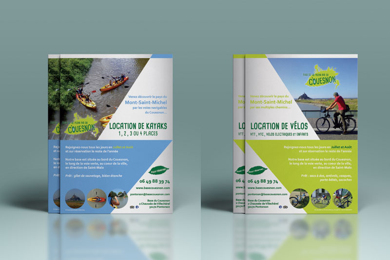 flyer a5 pour la communication de la base de plein air de Pontorson gérée par l'association évasion nature 35