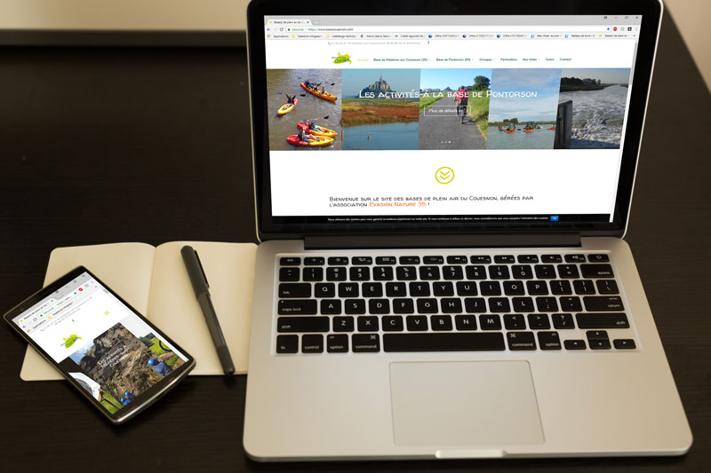 réalisation complète du site internet responsive de l'association evasion nature 35 (rédaction de contenus, photographie, graphisme, ergonomie...)