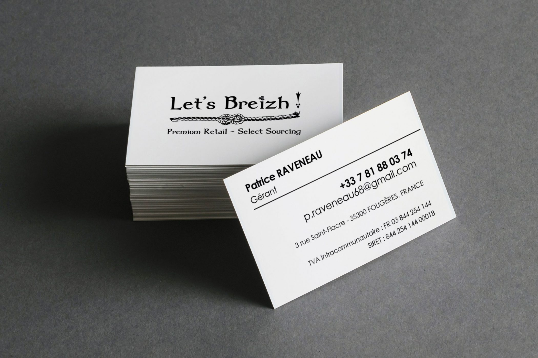 cartes de visite avec logo breton personnalisé