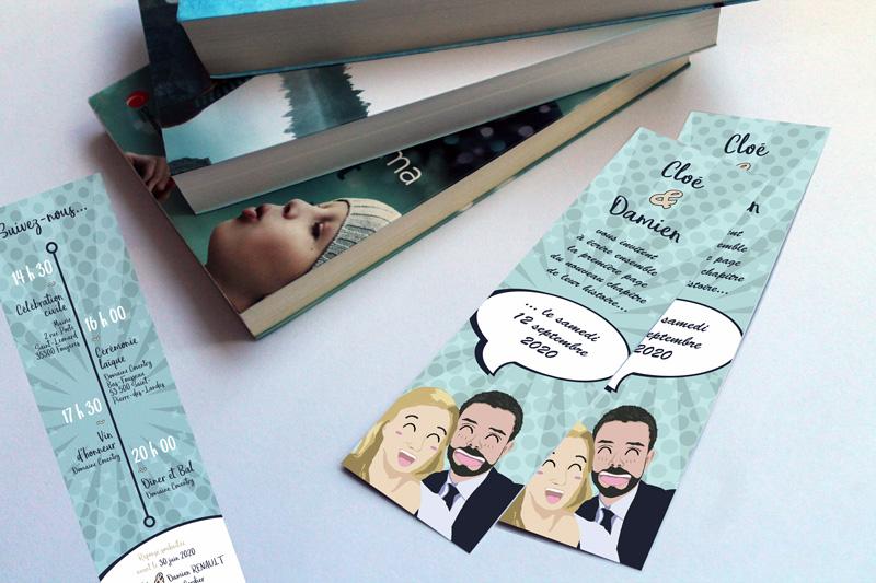 Faire-part de mariage format «marque-page» sur le thème des mangas et des livres