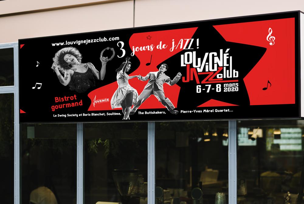panneau grand format festival de musique jazz louvigné du désert
