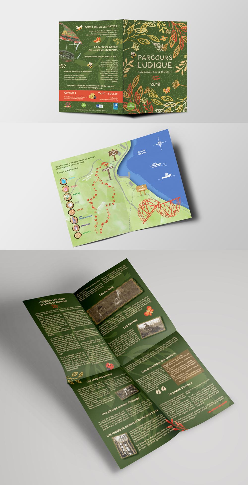 dépliant A3 ludique avec cartographie, dessin vectoriel et composition