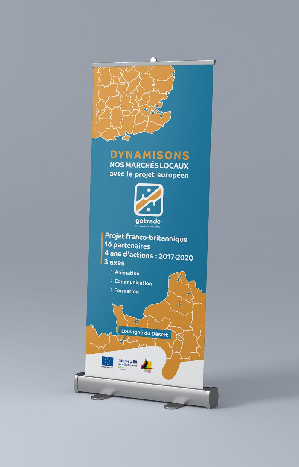 rollup charté dynamique et coloré pour le projet européen GoTrade