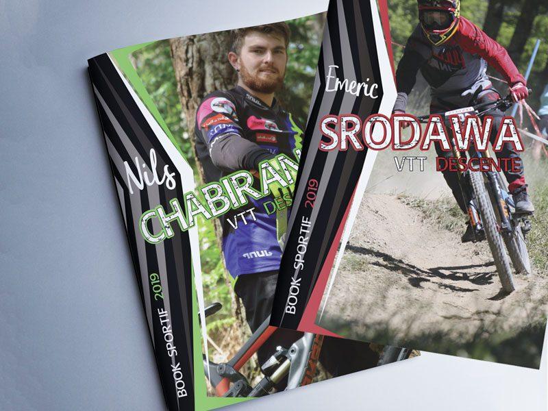 pochette brillante avec dossier de sponsoring d'un sportif