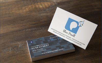 Carte de visite recto-verso pour mon entreprise de graphisme et webdesign Bleu Pixell