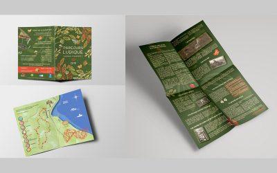 Dépliant de jeu en 2 plis croisés pour le parcours ludique dans la forêt de Villecartier pour l'été 2018 pour le compte de la ludothèque de couesnon marches de bretagne