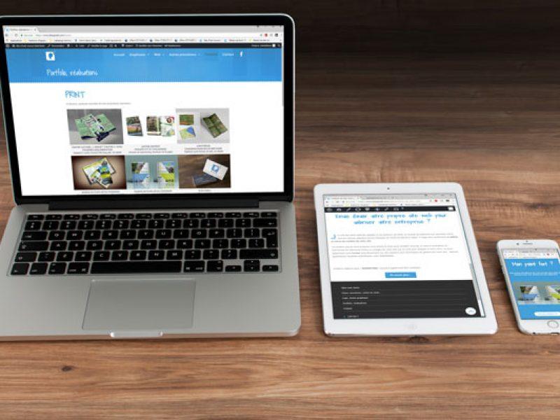 site internet de bleu pixell responsive, adaptable toutes tailles d'écran